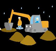 雨の工事・建設現場で