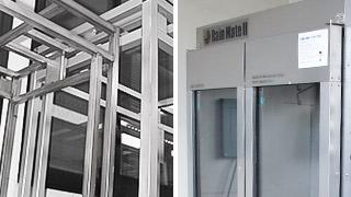 ステンレスポディー 、強固なフレーム構造、強化ガラス
